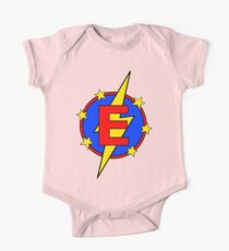 My Cute Little Super Hero - Letter E One Piece - Short Sleeve