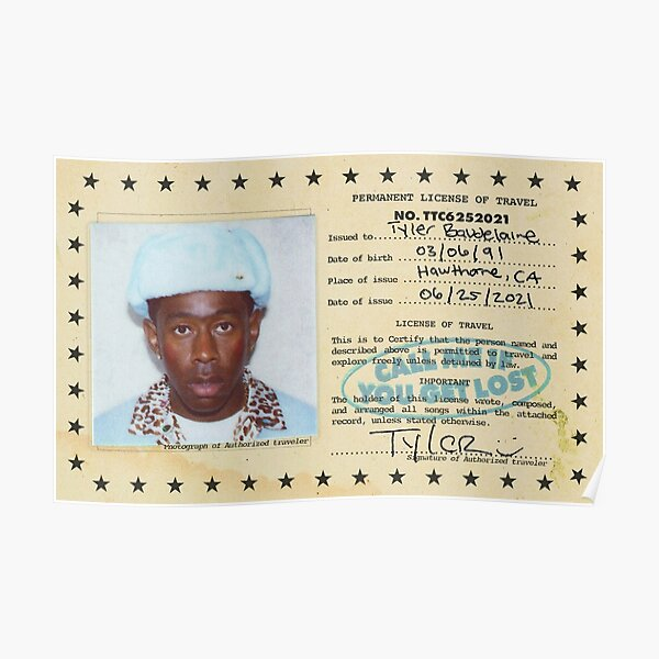 Permanent License Travel Of Tyler Poster Poster