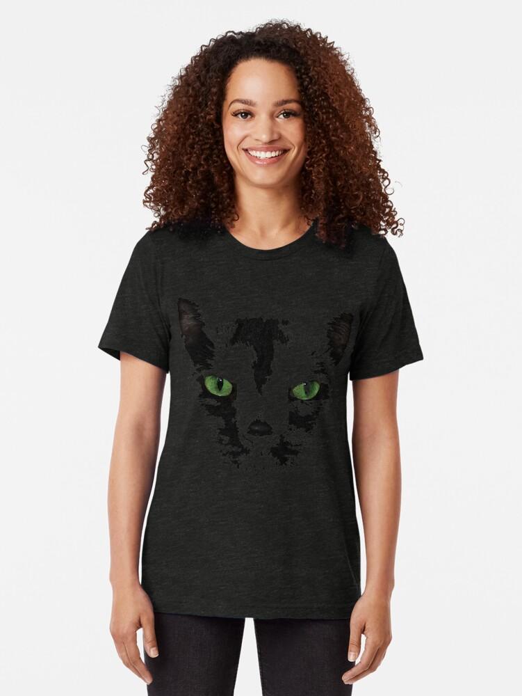 Alternate view of Black Cat Face  Tri-blend T-Shirt