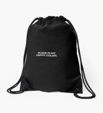 Black Is My Happy Color Tumblr Quote Drawstring Bag
