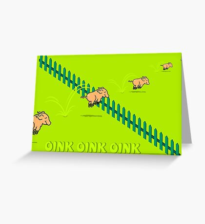 Jumping Pigs VRS2 Greeting Card