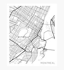 Montreal Map, Canada - Black and White Photographic Print