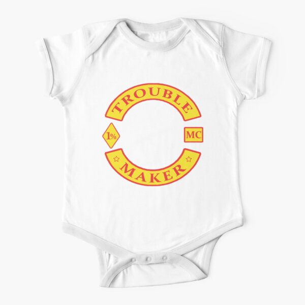 TROUBLE MAKER bikie gang Short Sleeve Baby One-Piece