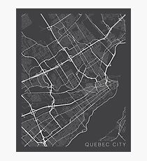 Quebec City Map, Canada - Gray Photographic Print