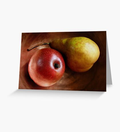 Pears Again in a Copper Bowl Greeting Card
