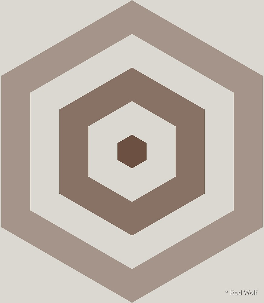 Geometric Pattern: Hexagon Hive: Brownstone by * Red Wolf