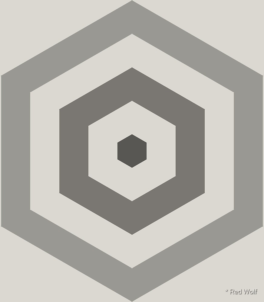 Geometric Pattern: Hexagon Hive: Slate by * Red Wolf