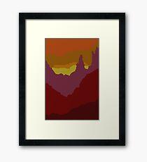 Abstract Sunset Landscape Mountain Scene Framed Print