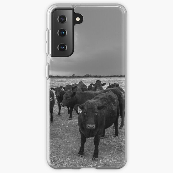 Hanging Out - Angus Cows Gather as Storm Brews in Kansas Samsung Galaxy Soft Case
