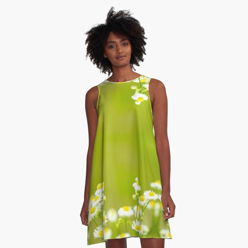 Philadelphia Fleabane Wildflowers in Soft Focus A-Line Dress