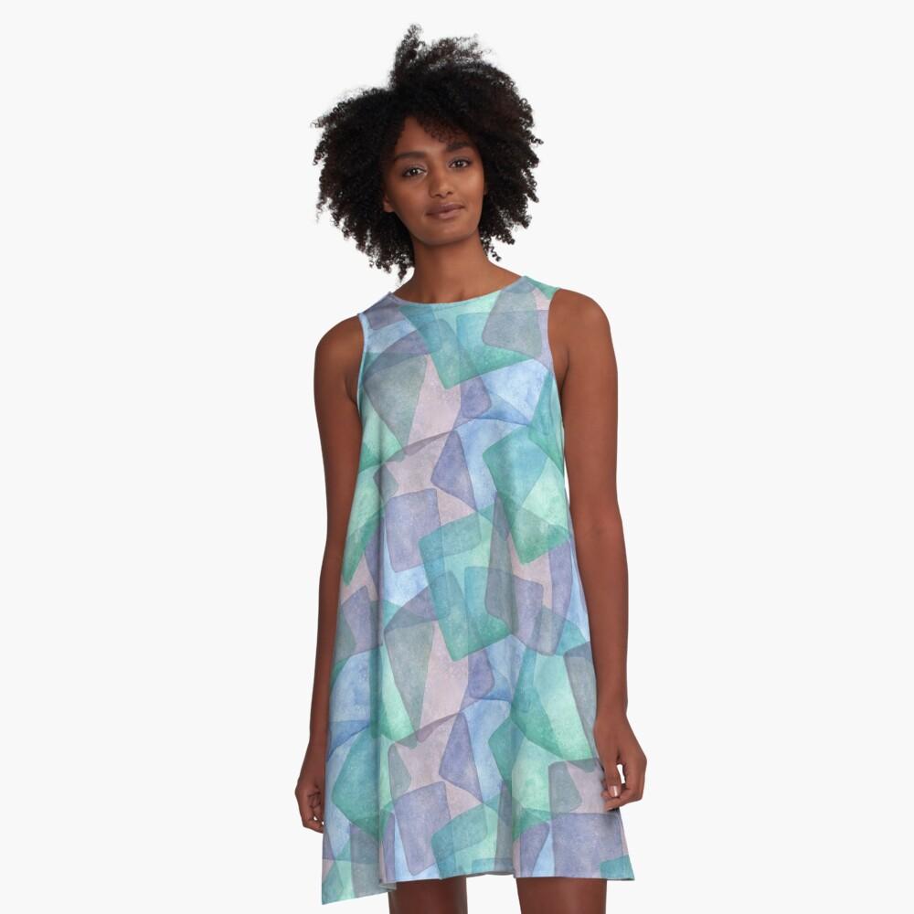 Aquarell Pastell Eiswürfel A-Linien Kleid