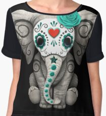 Teal Blue Day of the Dead Sugar Skull Baby Elephant Chiffon Top