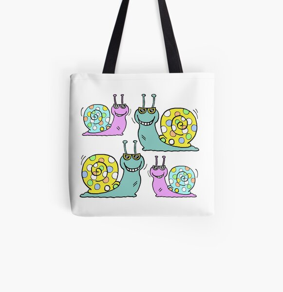 Cool Snails - have new colourful shells All Over Print Tote Bag