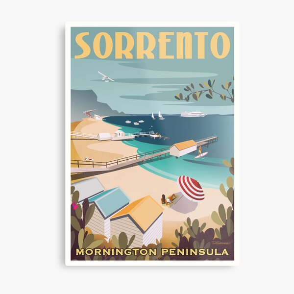 Sorrento Vintage-style Travel Poster Metal Print