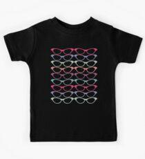 Cat Eye Glasses Pattern - Retro Waves of Color Kids Tee