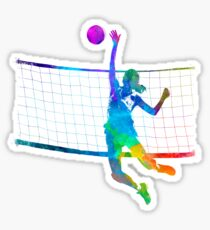 Woman volleyball player in watercolor Sticker