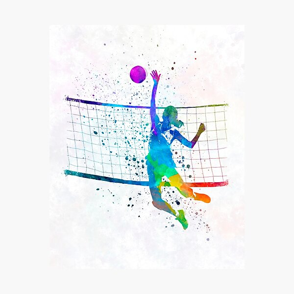 Woman volleyball player in watercolor Photographic Print