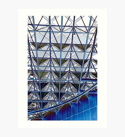 Blue grid Art Print