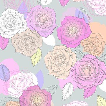 Rosen, gemaltes Blumenmuster von MartaOlgaKlara