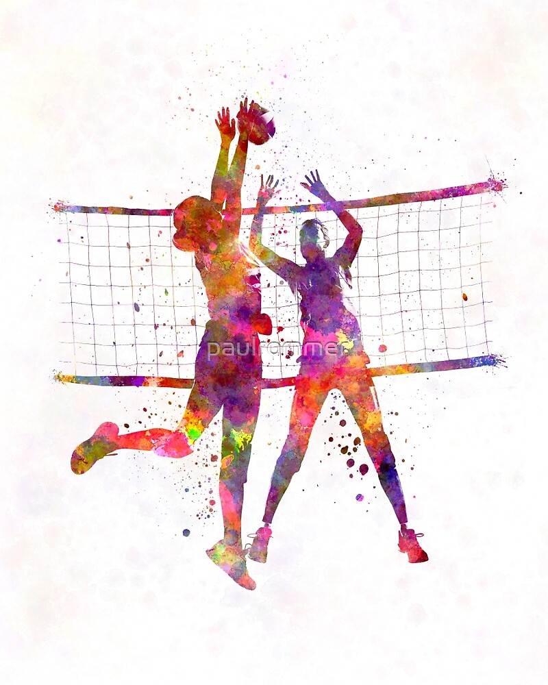 Women volleyball players in watercolor by paulrommer for Painting games com