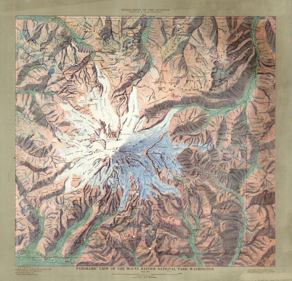 Vintage Mount Rainier Topographical Relief Map Washington by pdgraphics