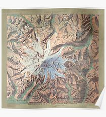 Vintage Mount Rainier Topographical Relief Map Washington Poster