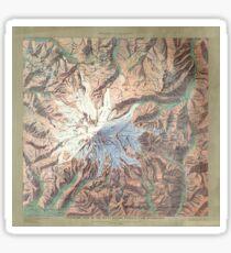 Vintage Mount Rainier Topographical Relief Map Washington Sticker