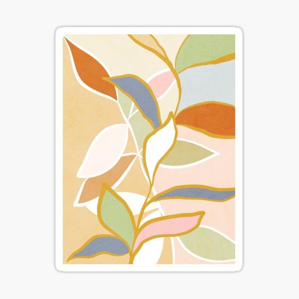 Closer to Nature Nº1 - Pastel Line-art leaves Sticker