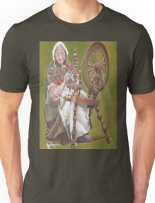 Old Irish Woman Sitting At A Spinning Wheel T-Shirt