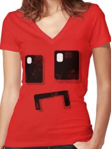 Simplistic Face Women's Fitted V-Neck T-Shirt