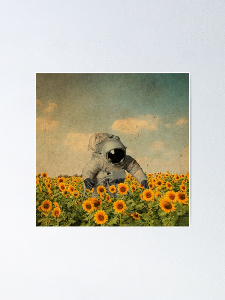Alternate view of astronaut in a sunflower's field Poster