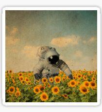 astronaut in a sunflower's field Sticker