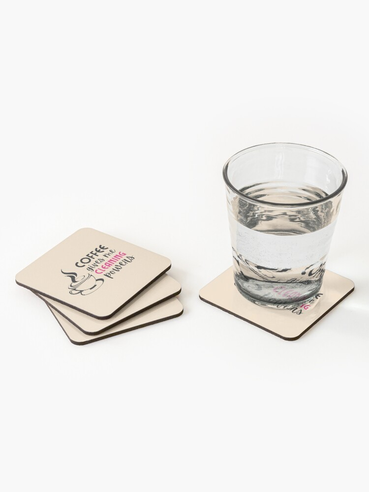 Alternate view of Coffee Gives Me Cleaning Powers Cleaning Lady Housekeeper Gifts Coasters (Set of 4)