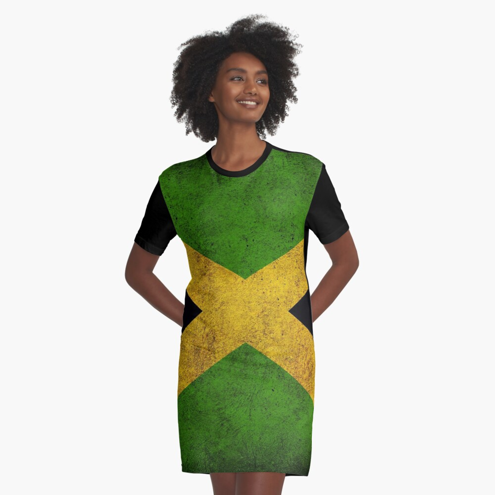 Jamaican Flag Graphic T-Shirt Dress Front