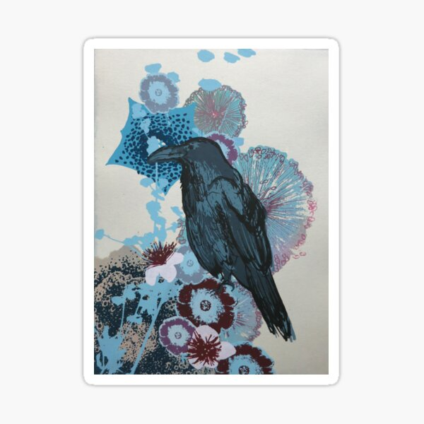 Blue Raven with flowers and succulents Sticker