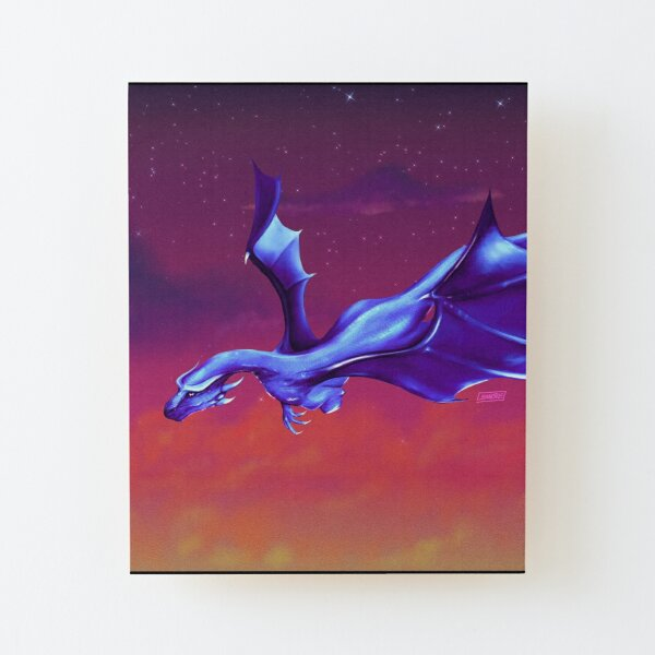 Blue Dragon over a Burning Sky Wood Mounted Print