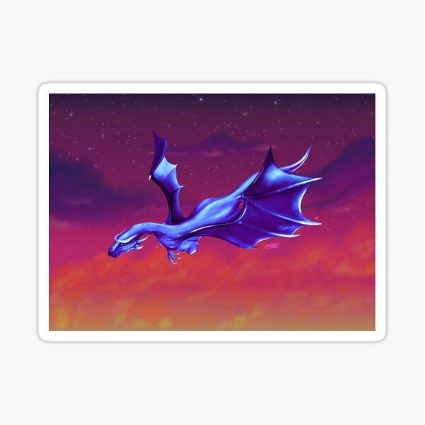 Blue Dragon over a Burning Sky Sticker