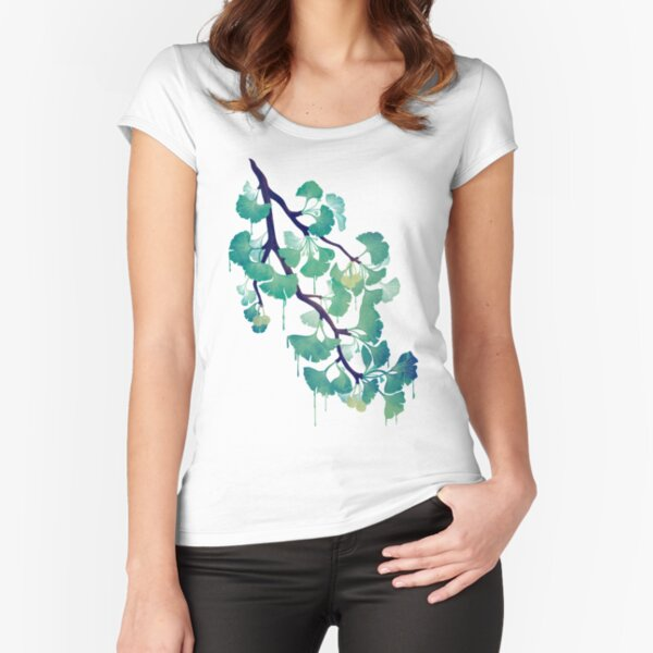 O Ginkgo (in Green) Fitted Scoop T-Shirt