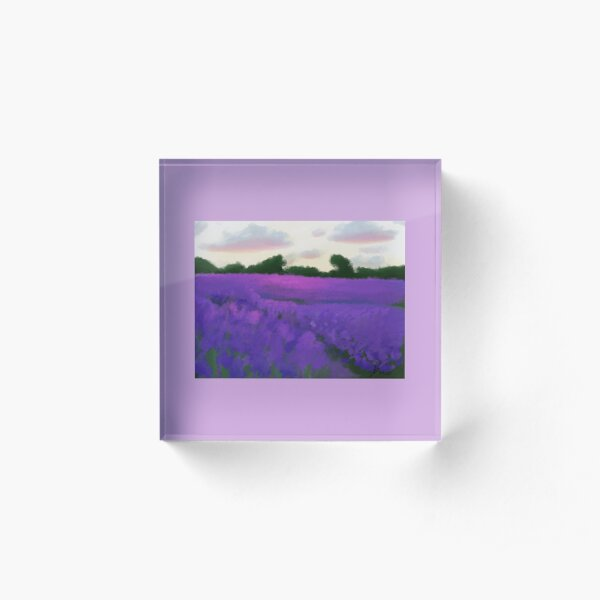 Abstract Lavender Field Landscape Painting Acrylic Block