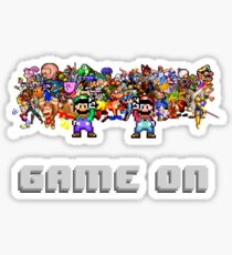 Game On! Video Game Crowd with Mario and Luigi Sticker