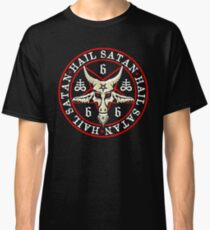 Hail Satan Baphomet in Occult Inverted Pentagram Classic T-Shirt