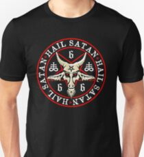 Hail Satan Baphomet in Occult Inverted Pentagram Unisex T-Shirt