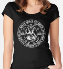 Baphomet & Satanic Crosses with Hail Satan Inscription Women's Fitted Scoop T-Shirt