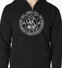 Baphomet & Satanic Crosses with Hail Satan Inscription Zipped Hoodie