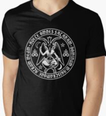 Baphomet & Satanic Crosses with Hail Satan Inscription Men's V-Neck T-Shirt