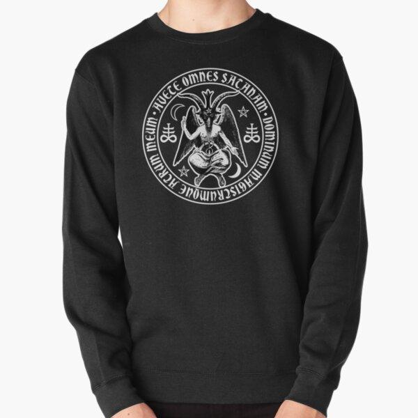 Baphomet & Satanic Crosses with Hail Satan Inscription Pullover Sweatshirt
