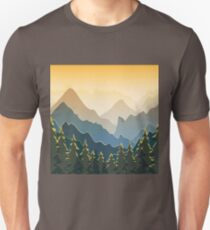 Blue mountains with forest on sunset Unisex T-Shirt