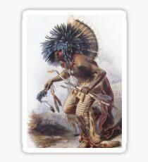 Karl Bodmer - Moennitarri Warrior doing Dog Dance  Sticker