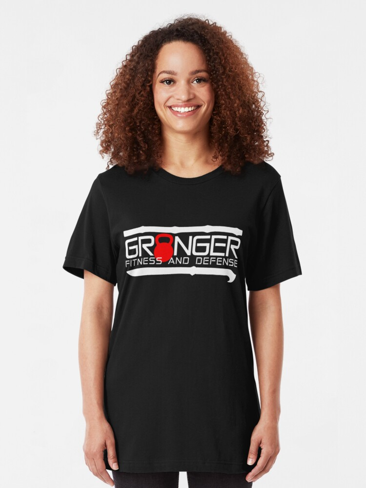 Alternate view of Granger Fitness and Defense Red And White Full logo Slim Fit T-Shirt