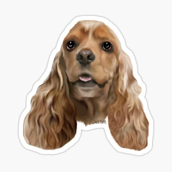 Blonde Cocker Spaniel Dog Portrait Sticker